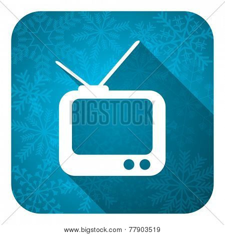 tv flat icon, christmas button, television sign