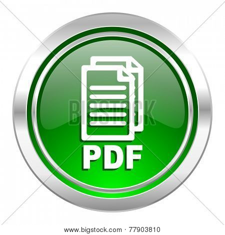 pdf icon, green button, pdf file sign