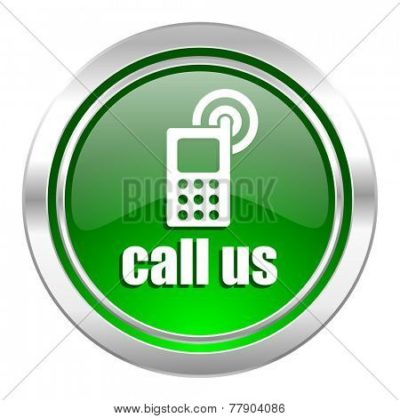 call us icon, green button, phone sign