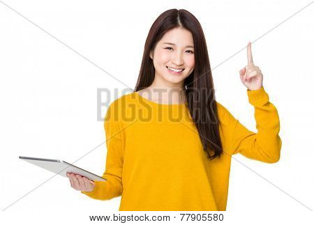 Woman use of digital tablet and finger show up