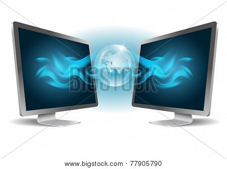 Two monitors. Computer connect concept