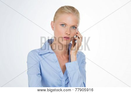 Blonde Woman With Stylish Smart Phone