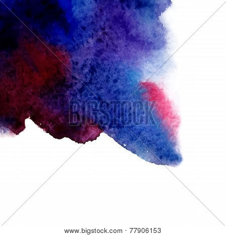 Vector abstract hand drawn watercolor background. Blue watercolo