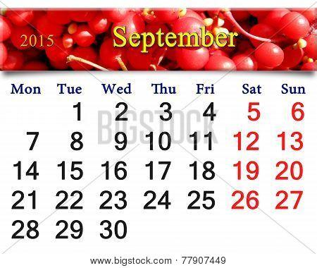 Calendar For September Of 2015 With Red Schisandra