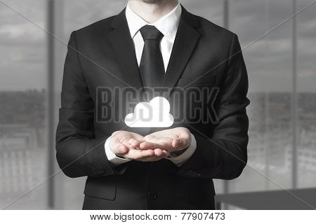 Businessman Serving Gesture Internet Cloud Service