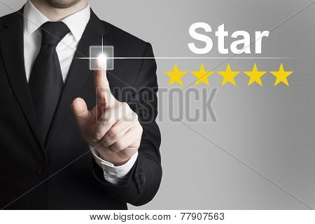 Businessman Pushing Touchscreen Button Star Vip