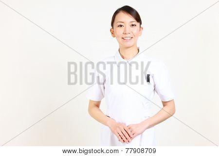 Japanese nurse smiles
