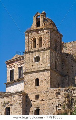 Clocktower of Craco. Basilicata. Southern Italy.