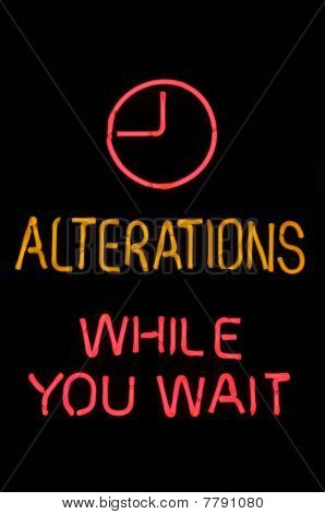 Alterations While You Wait Neon Sign