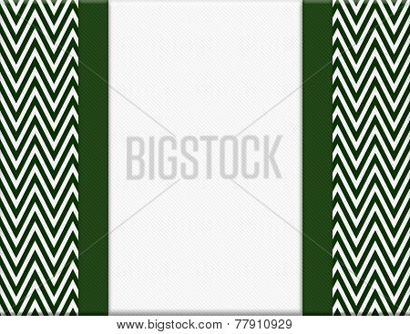 Hunter Green And White Chevron Zigzag Frame With Ribbon Background