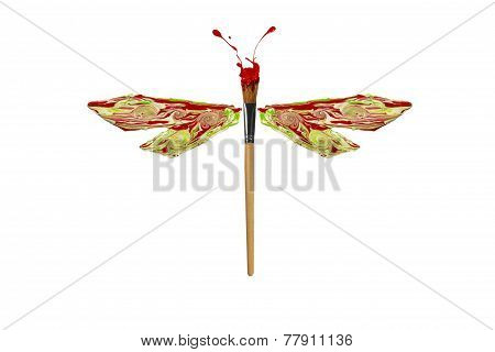 Green Red White Paint Made Dragonfly
