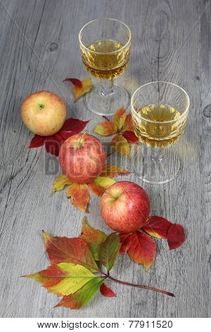 Apple Juice, Three Apples And Autumn Leaves