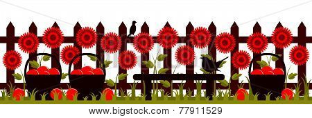 Picket Fence With Red Flowers