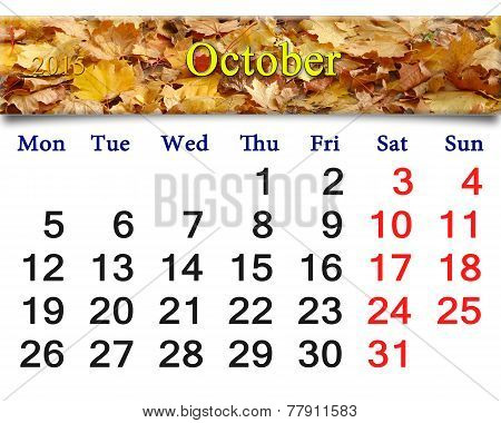 Calendar For October Of 2015 With Yellow Leaves
