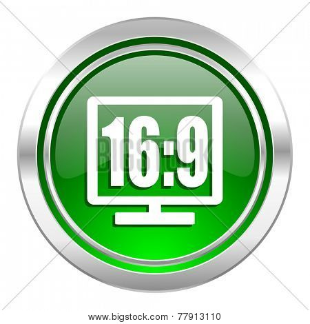 16 9 display icon, green button