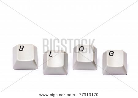 Word collected from computer keypad letters buttons blog isolated