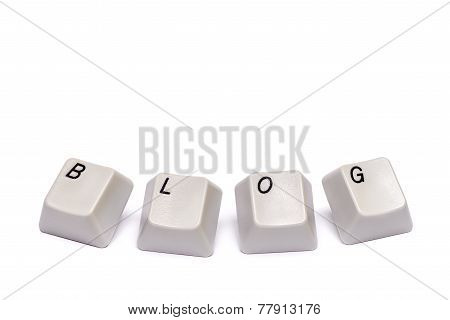 Word collected letters from computer keypad buttons blog isolated