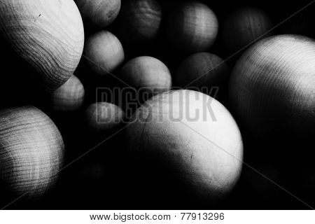 Space full of wooden Spheres. Particles concept image.