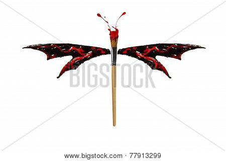 Red And Black Paint Made Dragonfly