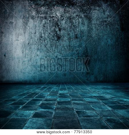 Blue room. Stone room or chamber in bluish tone.