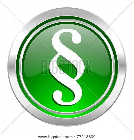 paragraph icon, green button, law sign