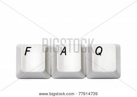 Word from computer keypad buttons FAQ isolated