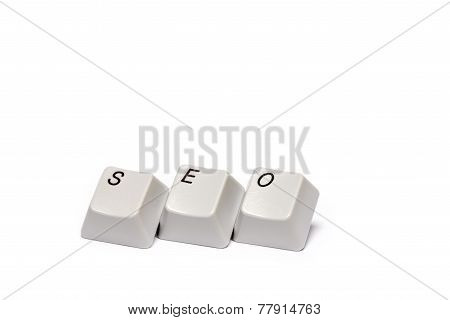 Word from computer keypad buttons SEO isolated