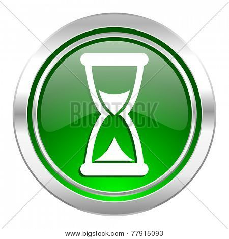 time icon, green button, hourglass sign
