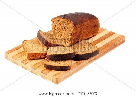 Sliced Bread On Board Isolated On White