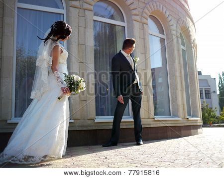 Buzuluk, Russia - September 19, 2014: The Wedding. Unknown Girl - Bride And The Guy Is The Groom In