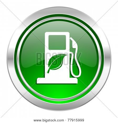 biofuel icon, green button, bio fuel sign