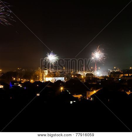 Fireworks Over The Rural Area