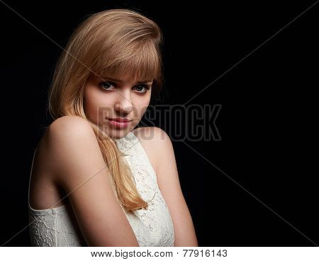 Beautiful Innocence Woman Posing On Black Background