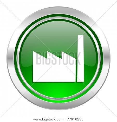 factory icon, green button, industry sign, manufacture symbol