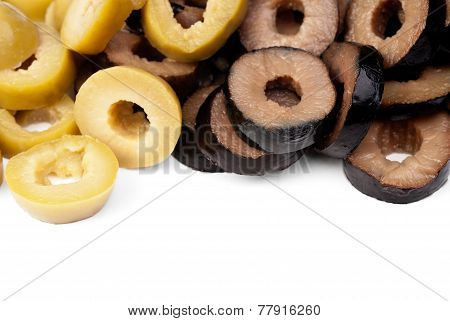 Mix Sliced Green And Black Olives Isolated On The White Background