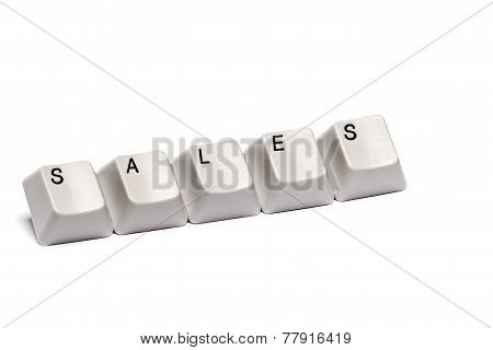 Word collected from computer keypad buttons sales isolated