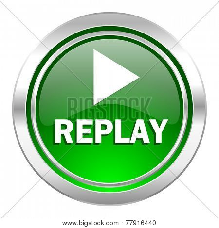 replay icon, green button