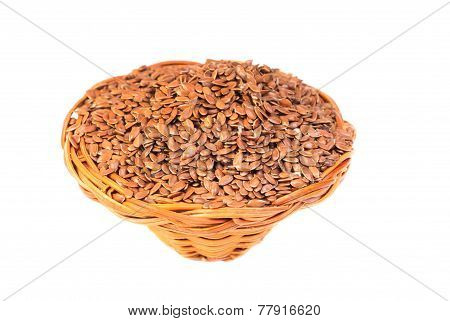 Close Up Of Flax Seeds Isolated On White Background