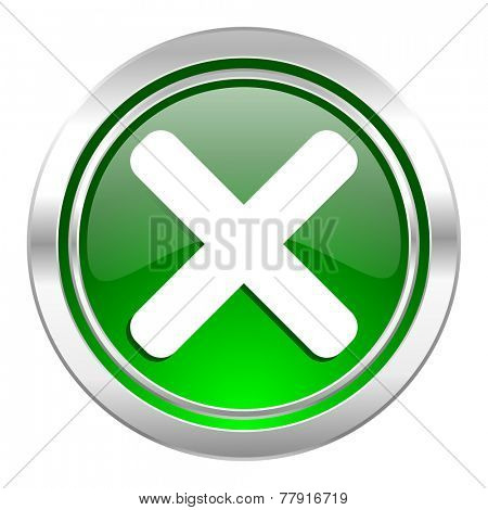 cancel icon, green button, x sign
