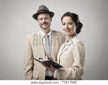 Vintage Smiling Business People