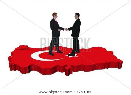 Business meeting On Turkey Map Flag