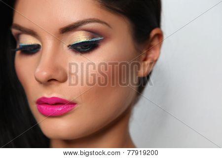 Beautiful Girl Face. Perfect Makeup. Professional Make-up.