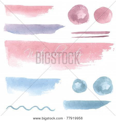 Set of watercolor hand drawn brush blobs, white background. Vector line design pastel color