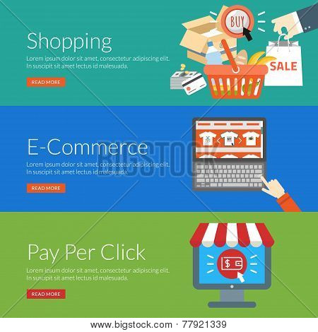 Flat Design Concept For Shopping, E-commerce And Pay Per Click. Vector Illustration For Web Banners