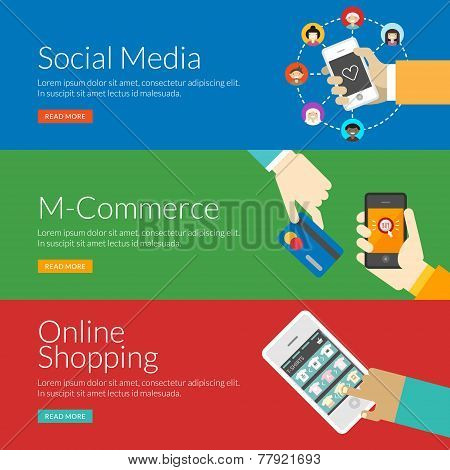 Flat Design Concept For Social Media, M-commerce And Online Shopping. Vector Illustration For Web Ba
