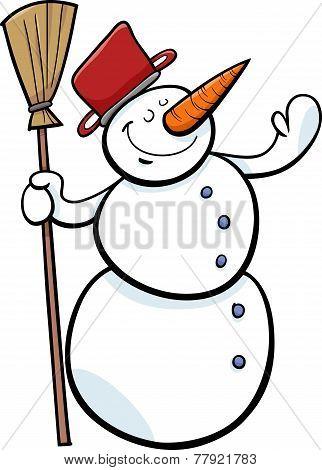 Happy Snowman Cartoon Illustration
