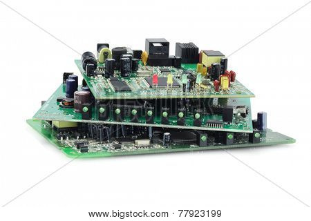 Stack Of Electronic Circuit Boards On White Background