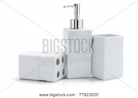 Toiletries Dispenser And Containers On White Background
