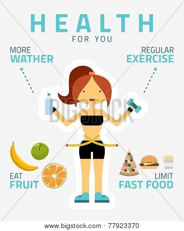 Fitness Woman, Sport Equipment, Caring Figure And Diet Icons. Health Food. Flat Design Vector Illust