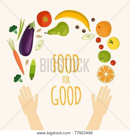 Healthy Food Flat Objects Fruits And Vegetables Background Vector Illustration